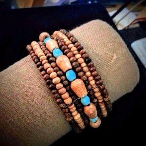 Miriam Haskell wooden beads open cuff bracelet NWT